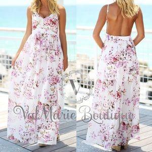 Beachside floral print maxi dress